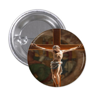 Jesús en el botón cruzado chapa redonda 2,5 cm
