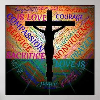 Jesús en la cruz, no violencia, poster de la póster