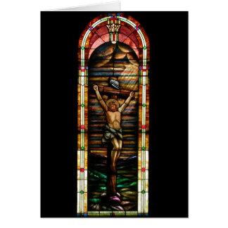 Jesús en la cruz tarjeta de felicitación