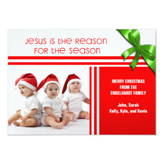 Jesús es la foto de encargo cristiana de la razón invitación 12,7 x 17,8 cm