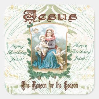 Jesús es la razón de la estación pegatina cuadrada