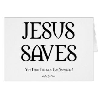 Jesús le ahorra del pensamiento tarjeta de felicitación