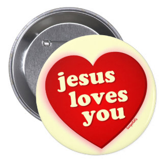 Jesús le ama botón rojo del corazón