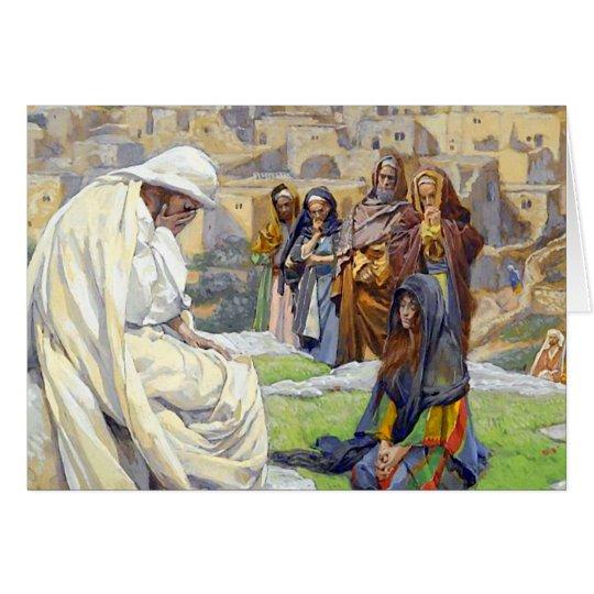 Jesús lloró la tarjeta de felicitación de la