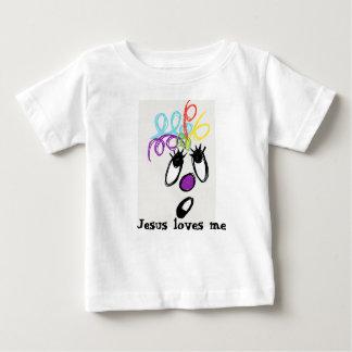 Jesús me ama monstruo loco del pelo camiseta de bebé