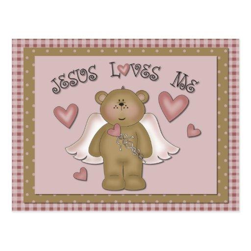 Jesús me ama postal del ángel del oso de peluche