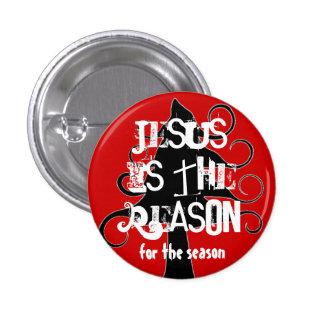 Jesús negro y rojo es el Pin del navidad de la