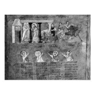Jesús que conduce a los comerciantes del templo postal