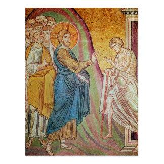 Jesús que cura a un leproso postal