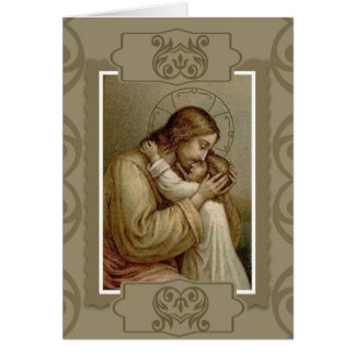 Jesús que detiene al niño de la chica joven tarjeta