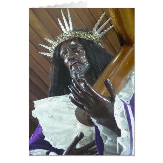 Jesús que lleva la cruz tarjeta de felicitación