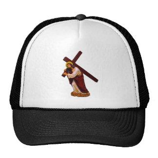 Jesús que lleva la figura cruzada gorra