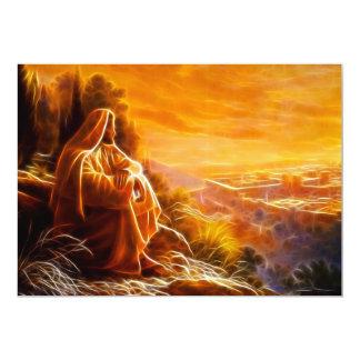 Jesús que piensa en la gente (usted) invitación 12,7 x 17,8 cm