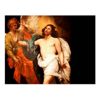 Jesús resucitado con ángel postal