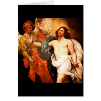 Jesús resucitado con ángel tarjeton
