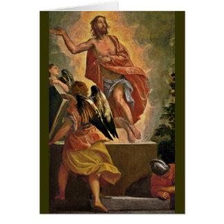 Jesús resucitado sobre su sepulcro tarjeta de felicitación