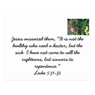 Jesús vino llamar a pecadores al arrepentimiento postal