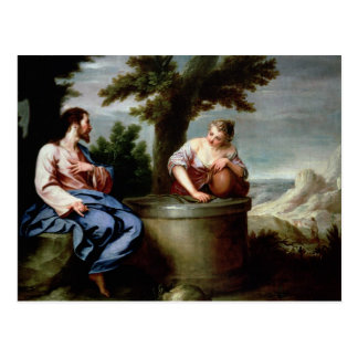 Jesús y la mujer del samaritano postal