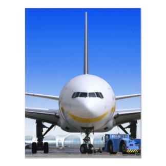 Jet blanco con el taxi azul invitación 10,8 x 13,9 cm