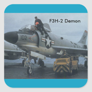 "Jet militar ""demonio "" pegatina cuadrada"