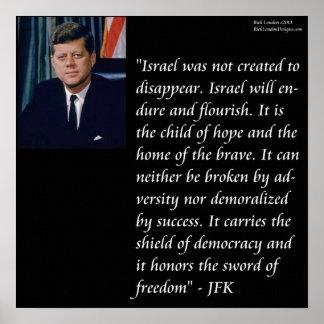 JFK y poster de la cita de Israel Póster