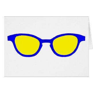 jGibney azul de la lente del amarillo del borde de Tarjeta De Felicitación