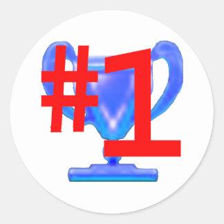 jGibney azul de la taza del trofeo los regalos de Pegatina Redonda
