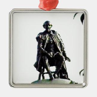 jGibney de la estatua de Stratford-sobre-Avon Adorno Cuadrado Plateado
