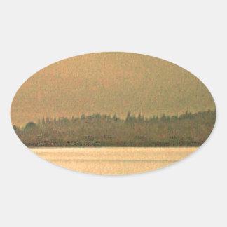 jGibney del arte 37319a2 de las montañas de Pegatina Ovalada