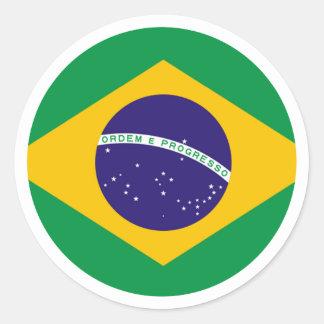 jGibney del círculo de la bandera del Brasil los Pegatina Redonda