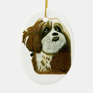 jGibney del perrito de MURPHY los regalos de Adorno Navideño Ovalado De Cerámica