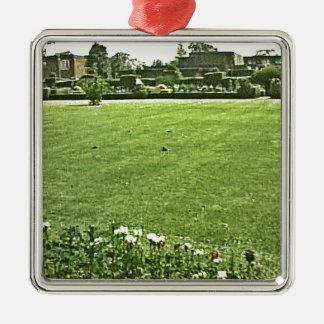 jGibney En--Verde de Stratford-sobre-Avon Adorno Navideño Cuadrado De Metal