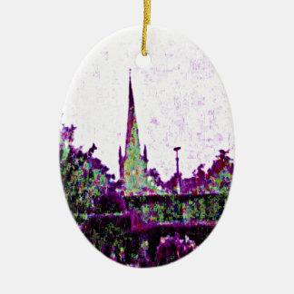 jGibney púrpura del jardín de Stratford-sobre-Avon Adorno Navideño Ovalado De Cerámica