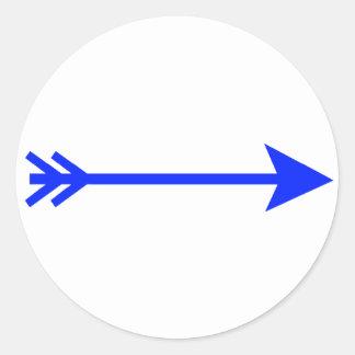 jGibney recto azul de la flecha el regalo de Pegatina Redonda