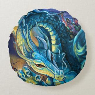 Jinete azul del dragón cojín redondo