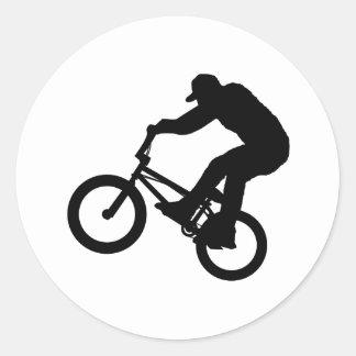Jinete de BMX Pegatina Redonda