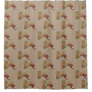 Jinete de Bull y cortina de ducha del dibujo