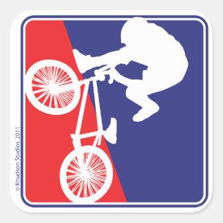 Jinete de la bici de BMX Pegatina Cuadrada