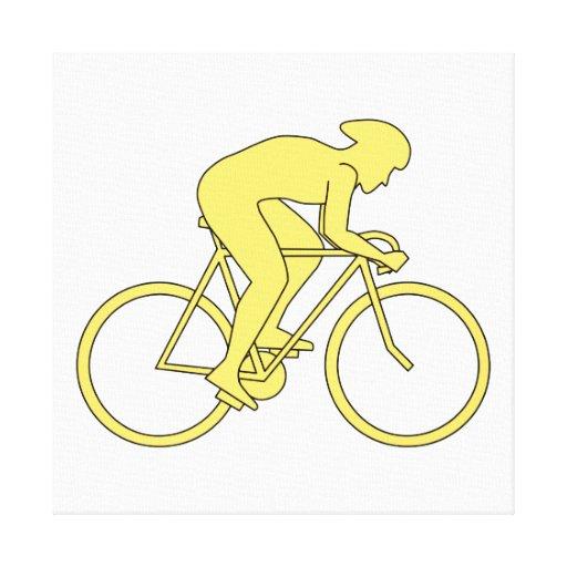 Jinete de la bicicleta en amarillo impresión en lienzo estirada