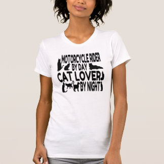Jinete de la motocicleta del amante del gato camiseta