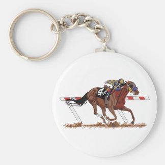Jinete en caballo de carreras llavero redondo tipo chapa