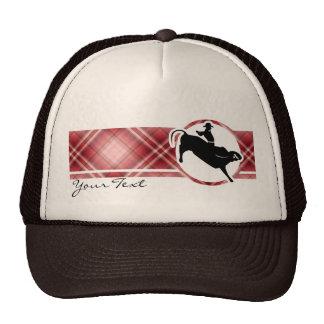 Jinete rojo de Bull de la tela escocesa Gorras De Camionero