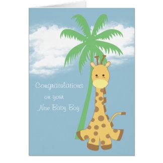 Jirafa azul claro de la nueva enhorabuena del bebé tarjeta de felicitación