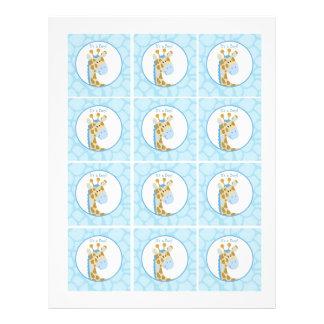 Jirafa azul es los primeros DIY de una magdalena d Flyer Personalizado