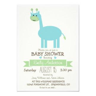 Jirafa azul linda, fiesta de bienvenida al bebé invitación 12,7 x 17,8 cm