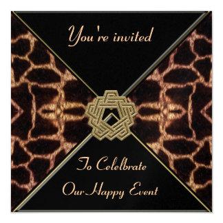Jirafa con la colección de la decoración del oro invitación 13,3 cm x 13,3cm