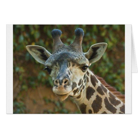 Jirafa curiosa tarjeta de felicitación