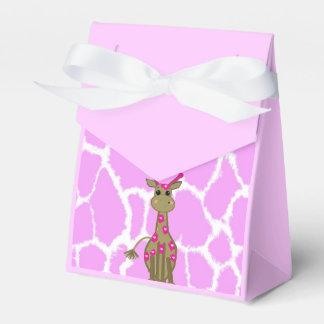 Jirafa derecha linda con los puntos rosados caja de regalos