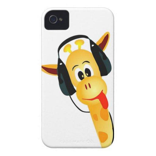 jirafa divertida con los auriculares iPhone 4 carcasas
