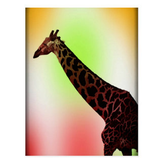Jirafa en colores pastel postal